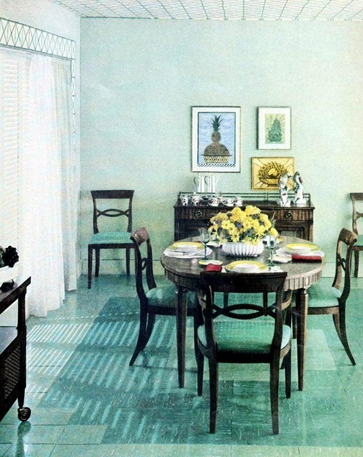 Dining room with blue aqua vintage vinyl floors