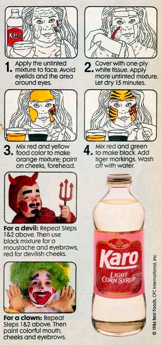 Directions how to make corn syrup makeup for Halloween