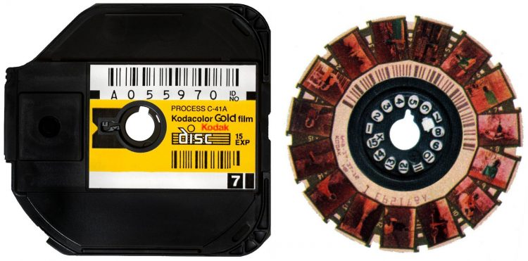 Disc camera - Unused film cartridge and developed film reel