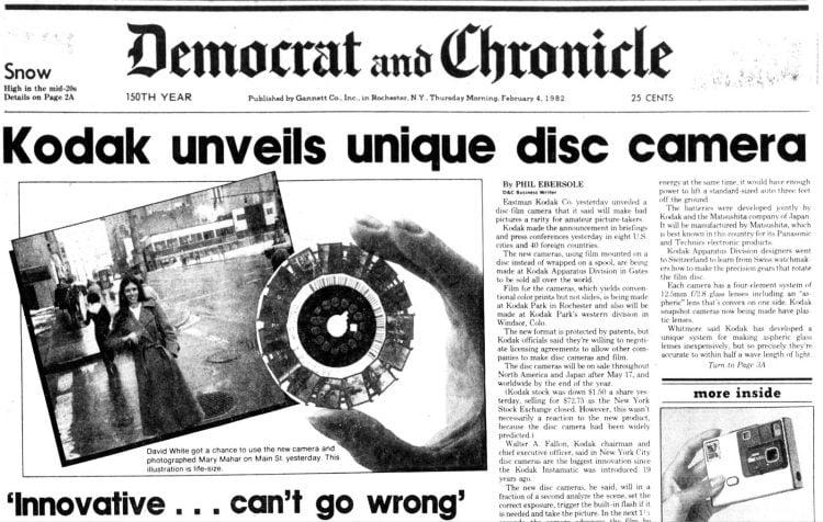 Kodak Disc camera introduction - Democrat and Chronicle, Rochester New York - February 4 1982
