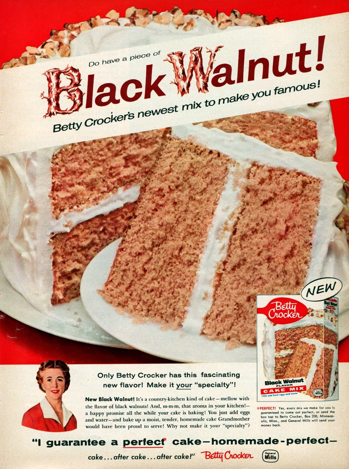 Discontinued 1950s Betty Crocker Black Walnut cake mix (1958)