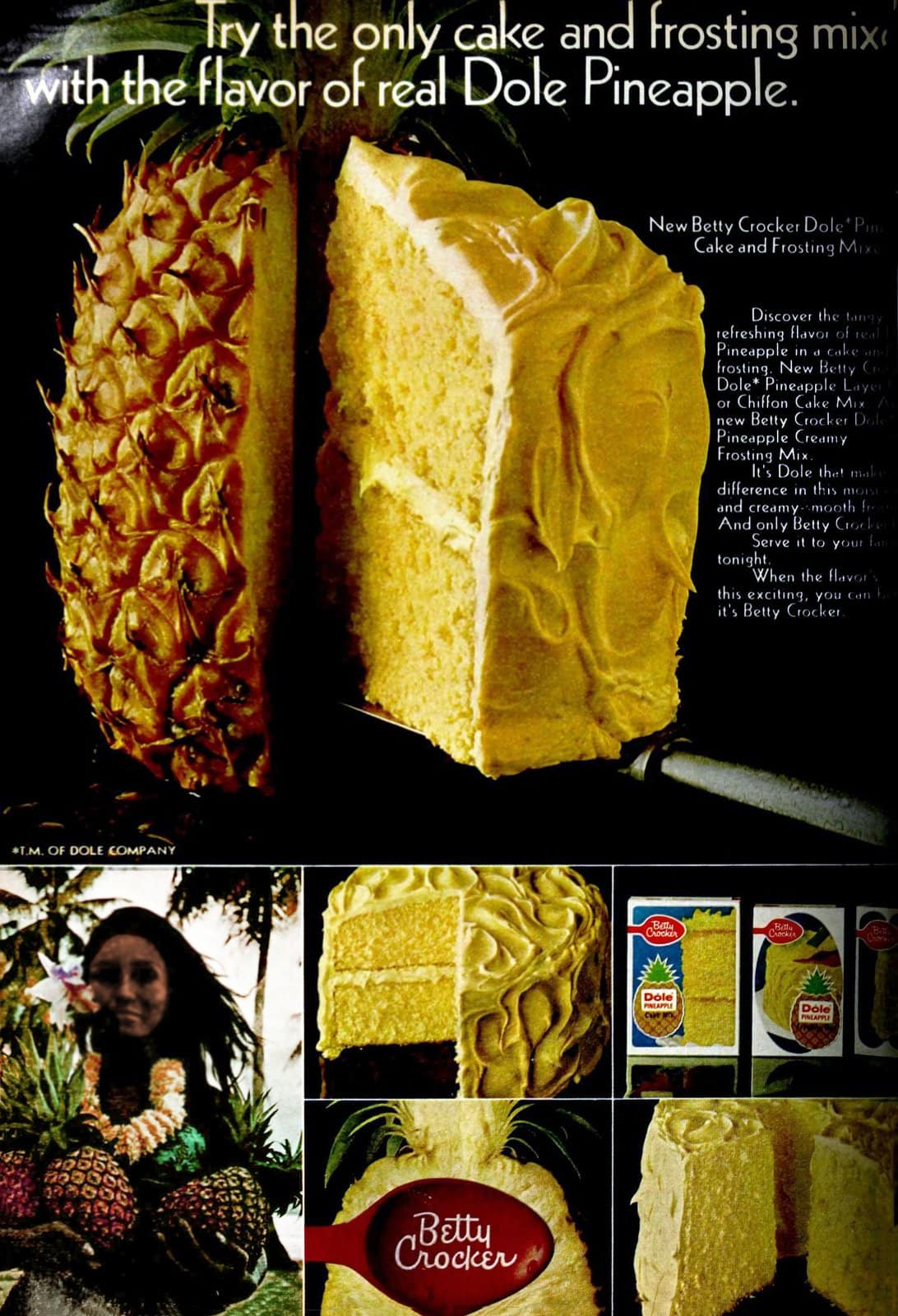 Discontinued retro 1960s Betty Crocker Dole Pineapple cake mix (1969)