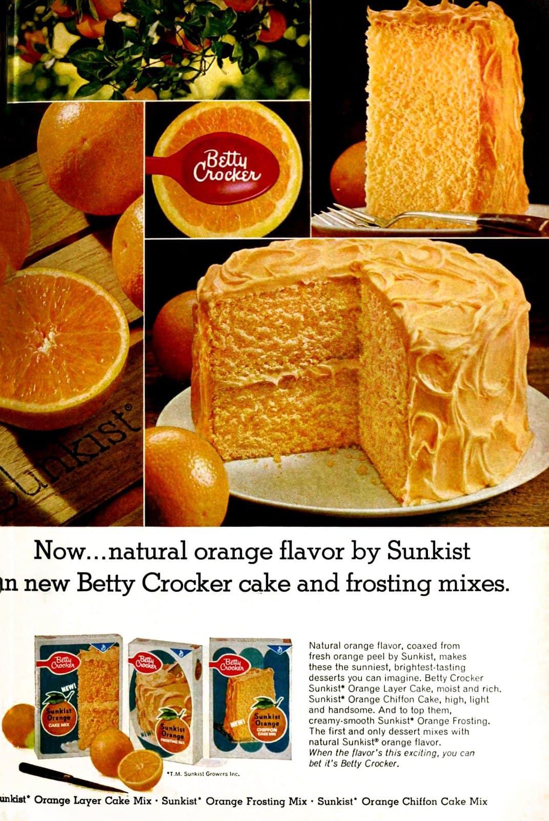 Discontinued vintage Betty Crocker Sunkist Orange cake mix (1968)