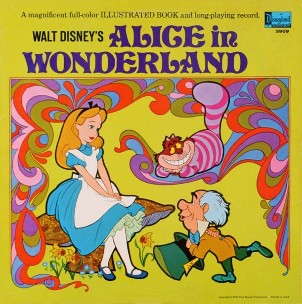 Disney Alice in Wonderland vintage book and record from the 1970s