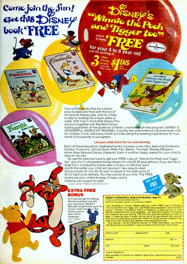 Disney book-record combos for kids from 1978