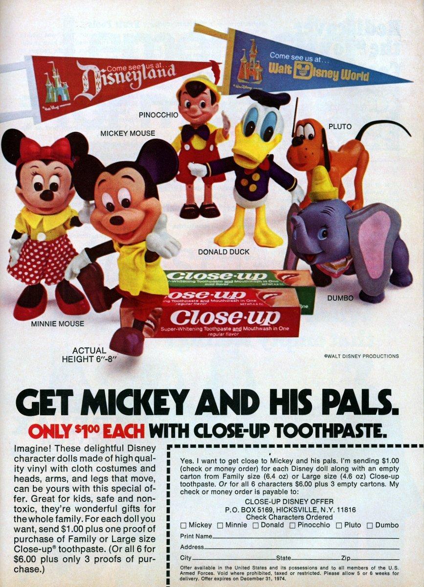 Disney doll toothpaste promo-1974