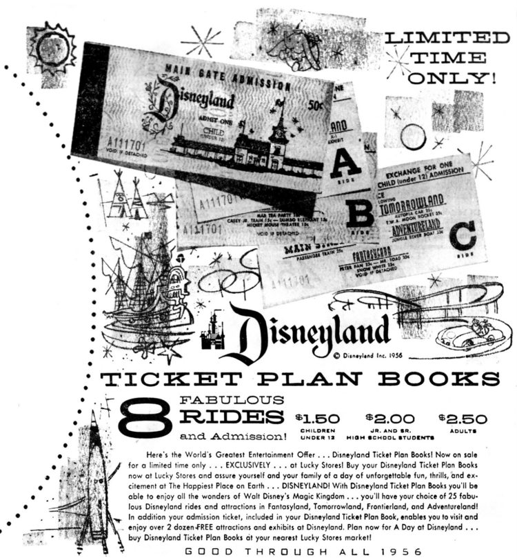 Disney ticket books - ticket plan books from 1956