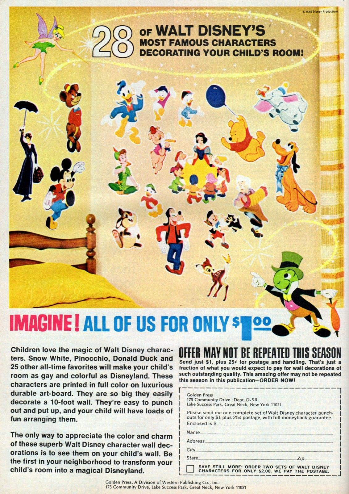 Disney wall stickers - Bedroom decor (1972)