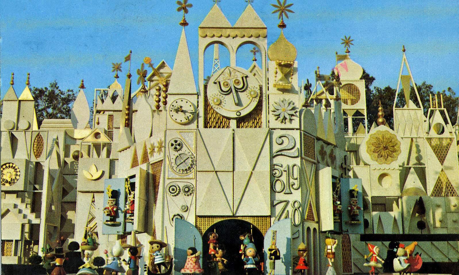 Disneyland Small World facade vintage postcard