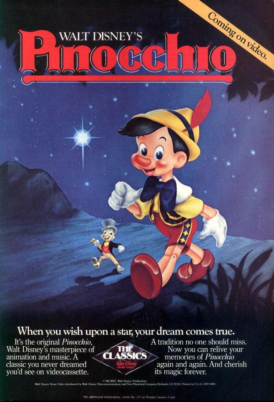 Disney's Pinocchio on video tape (1985)