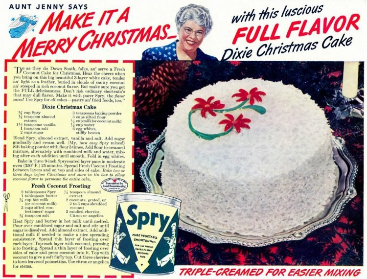 Dixie Christmas cake - Vintage recipe from 1941