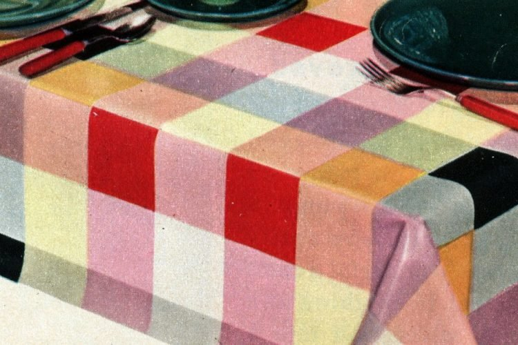 Do-it-yourself home decor with colorful oilcloth (1952)