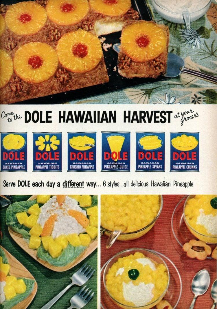 Dole Hawaiian harvest - pineapple recipes from 1955