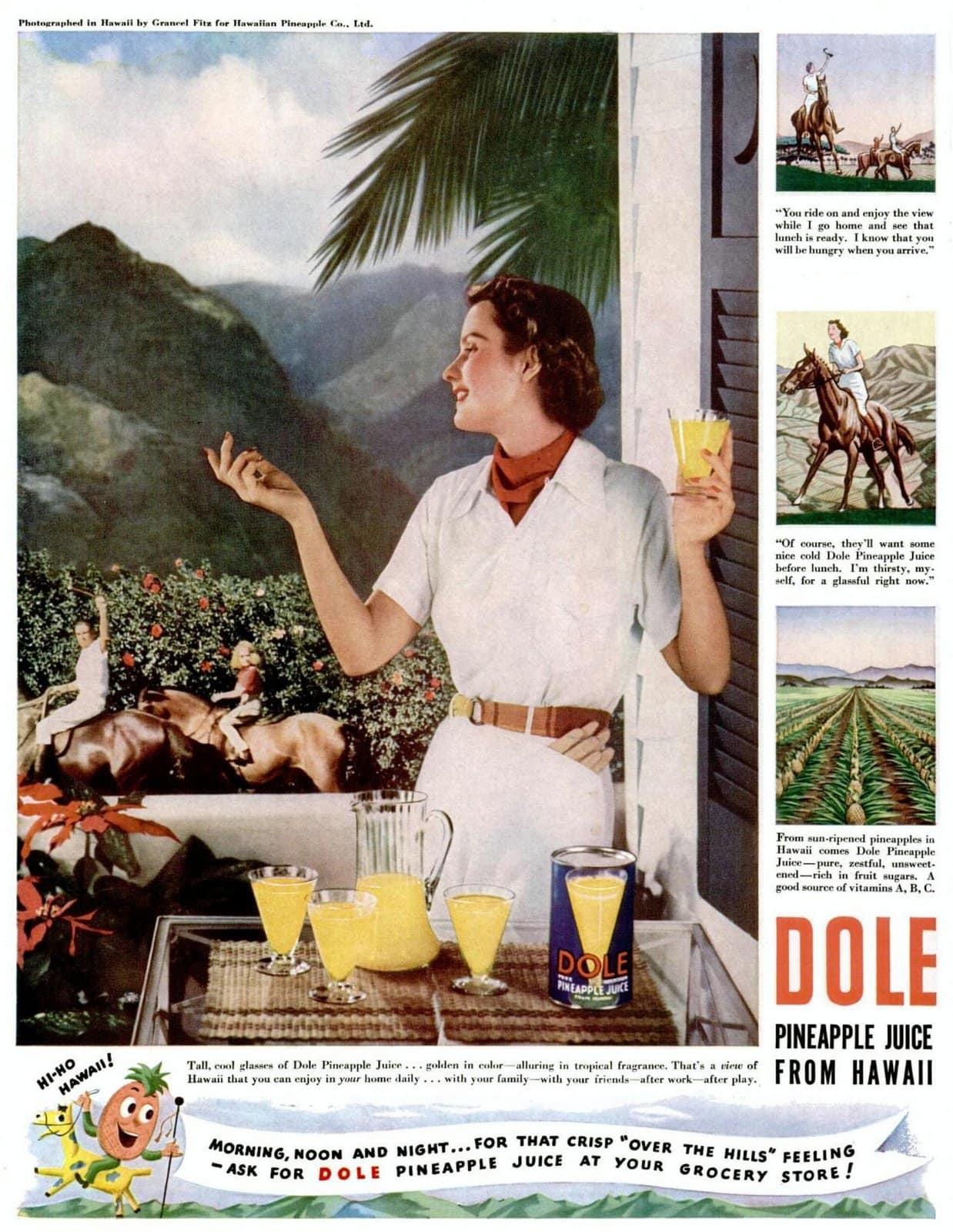 Dole pineapple juice from Hawaii (1939)