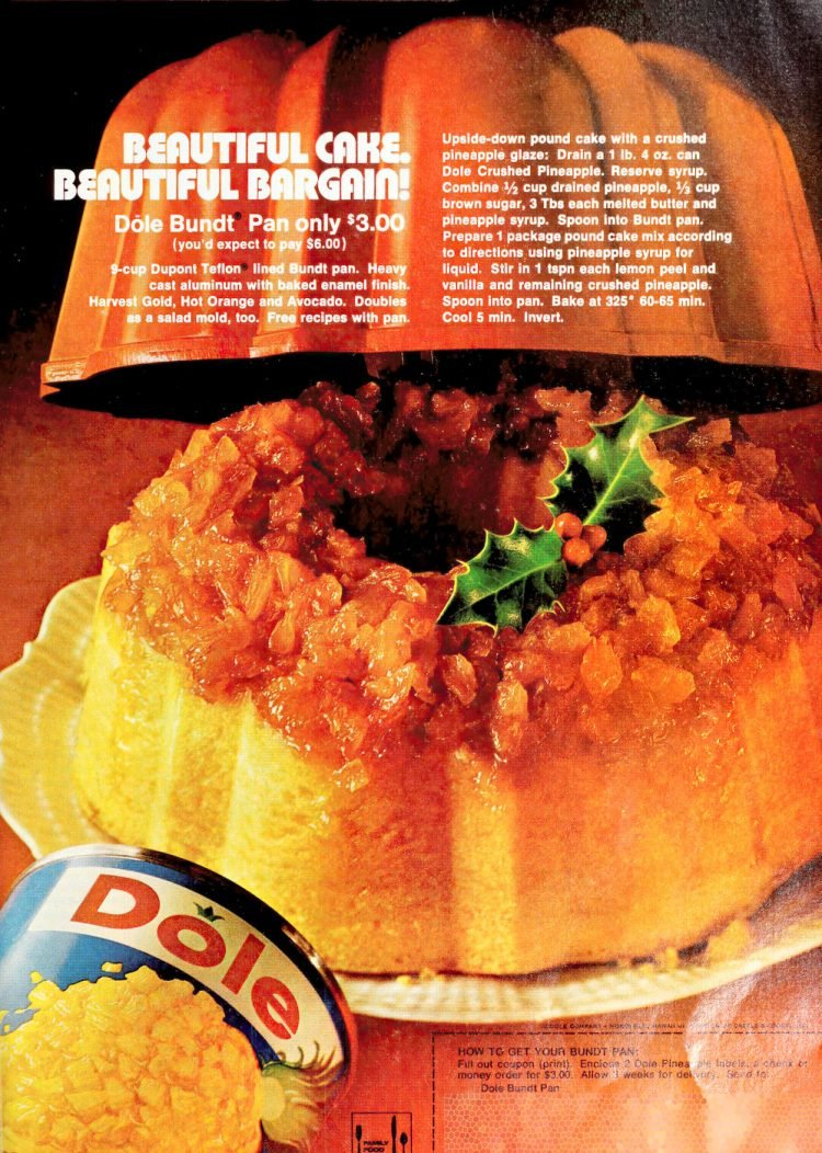 Dole's crushed pineapple upside-down bundt cake retro recipe