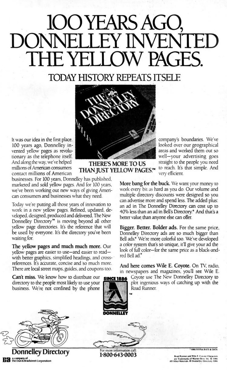 Donnelley Yellow Pages - history 1986