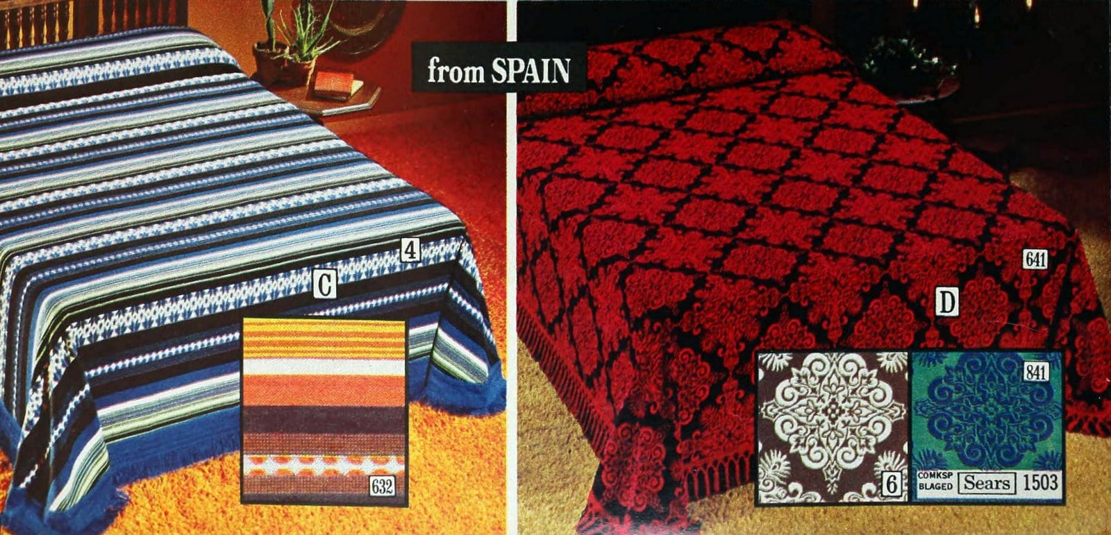 Dorado and Alicante retro 70s bedspreads inspired by Spain