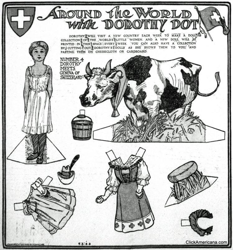 Dorothy Dot paper doll Geneva of Switzerland (1909)