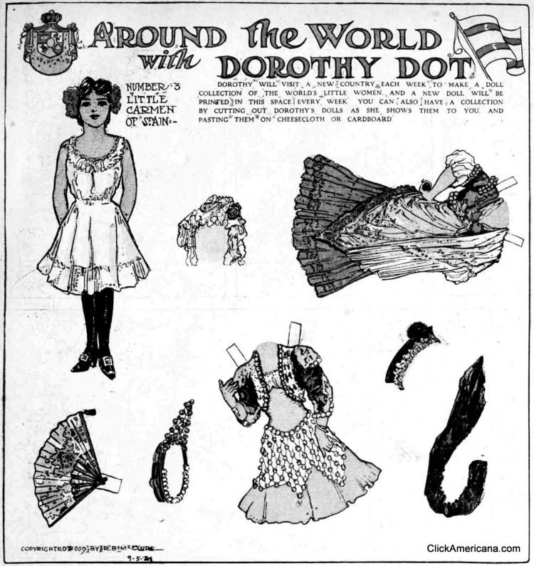 Dorothy Dot paper doll Little Carmen from Spain (1909)