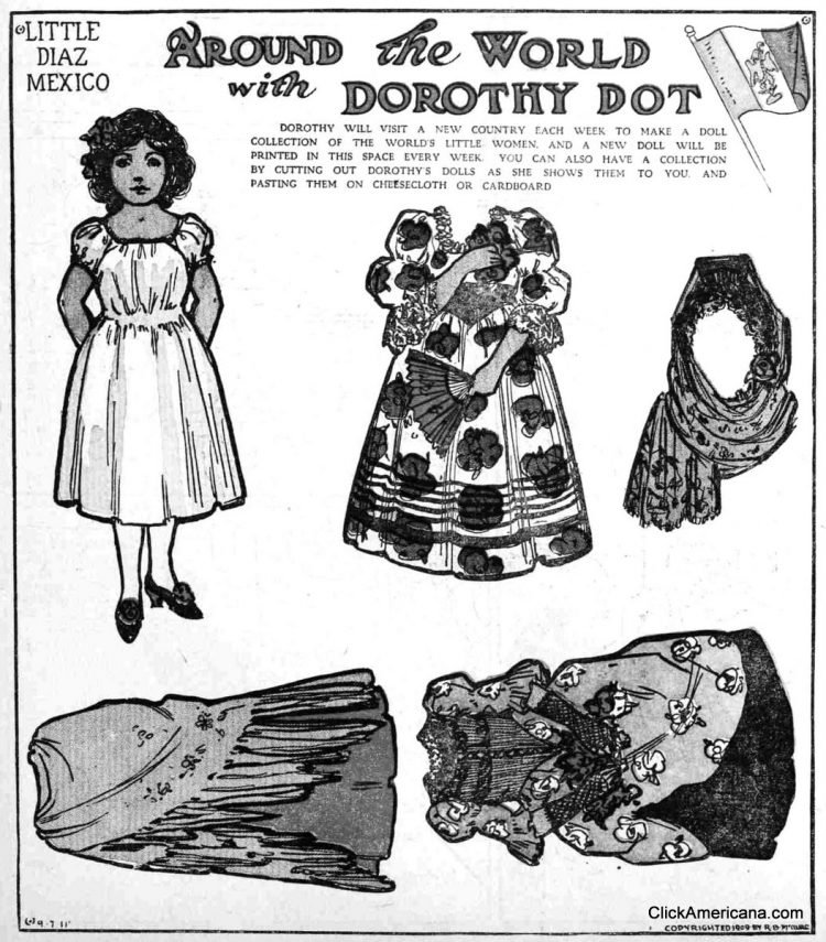 Dorothy Dot paper doll Little Diaz of Mexico (1909)