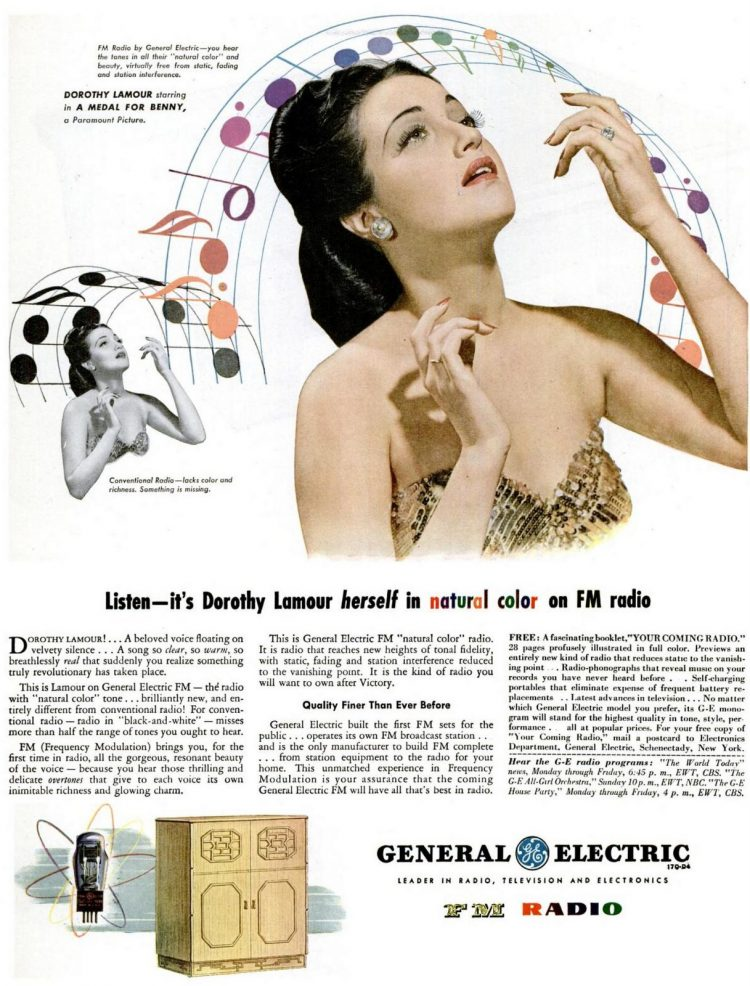 Dorothy Lamour for GE FM Radio - Oct 9, 1944