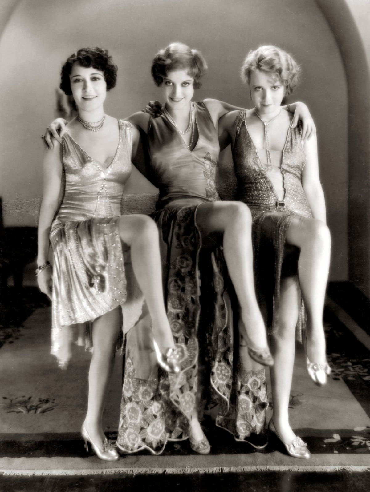 Dorothy Sebastian, Joan Crawford, and Anita Page as flappers in Our Dancing Daughters movie (1928)