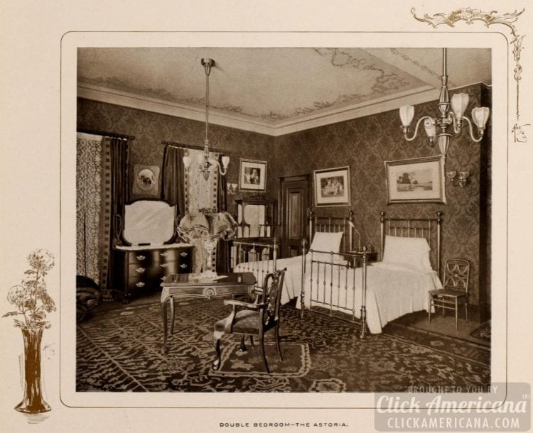 Double bedroom at the Astoria Hotel - 1903