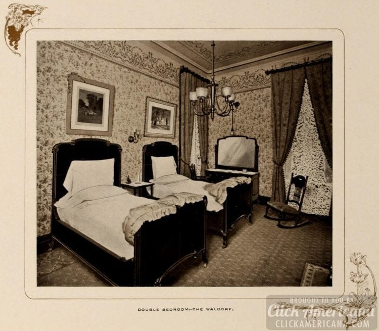 Double bedroom at the Waldorf Hotel - 1903