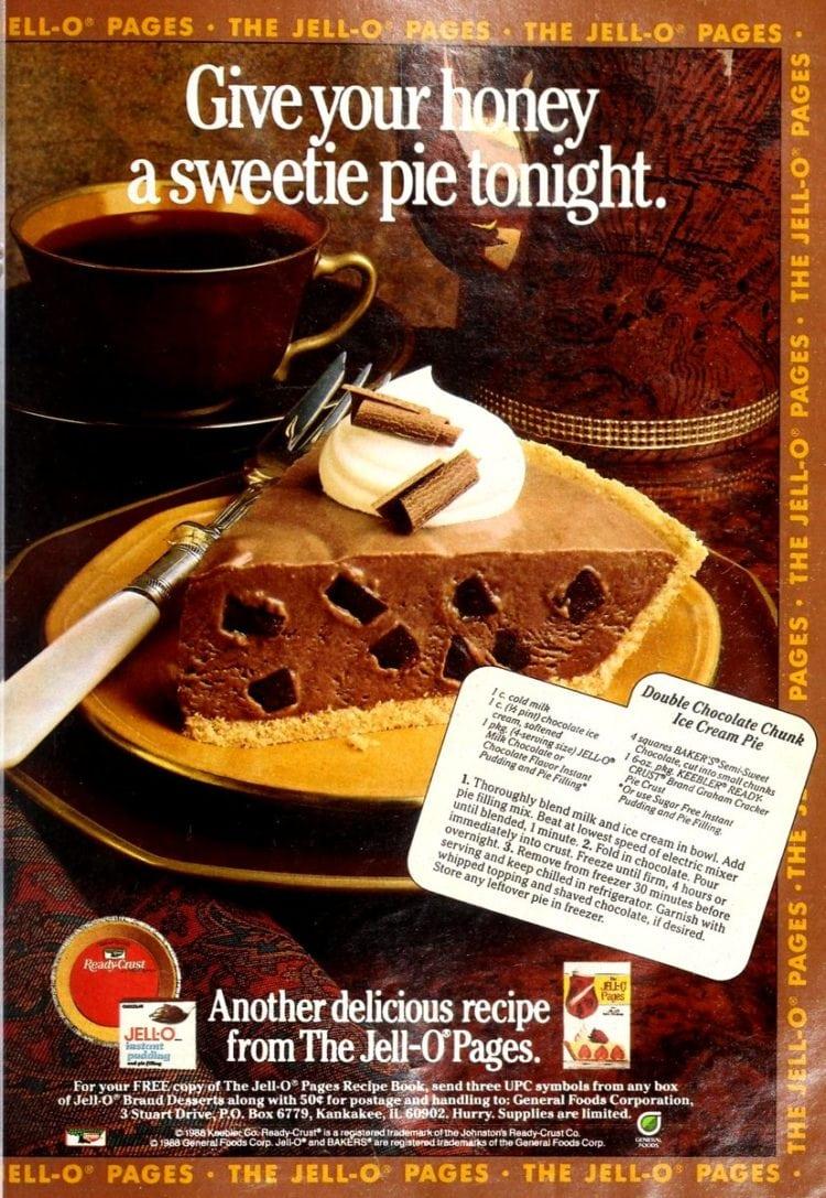 Double chocolate chunk ice cream pie recipe (1988)