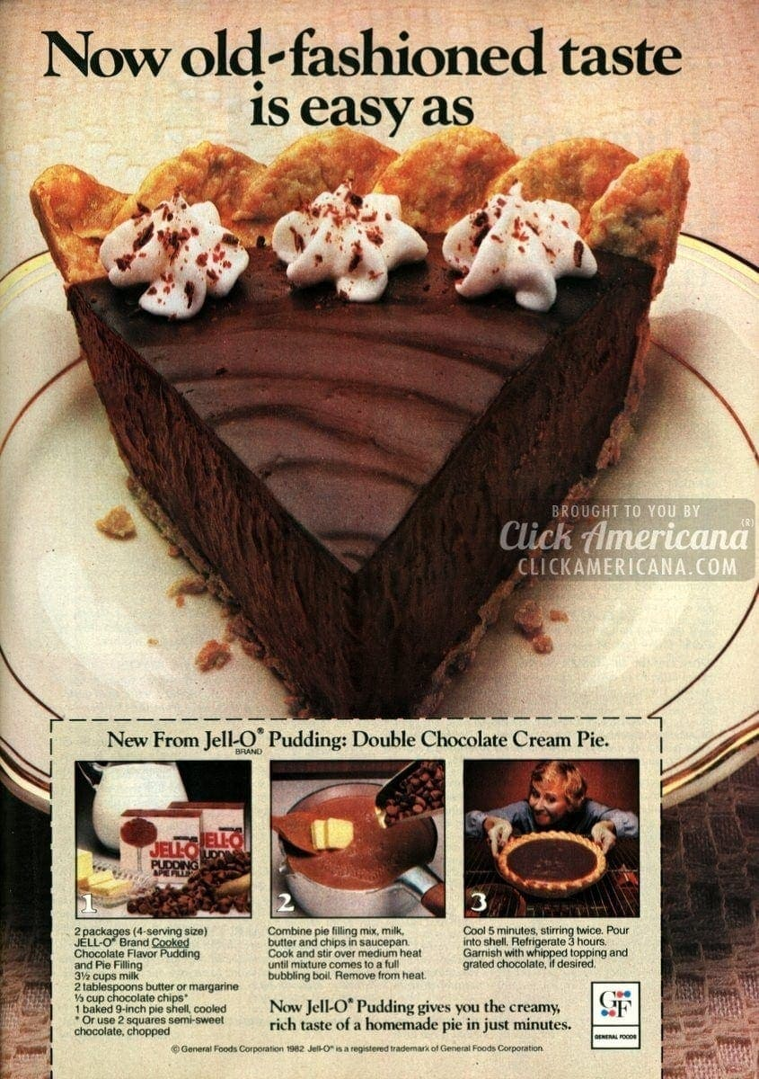 Double chocolate cream pie recipe (1982)