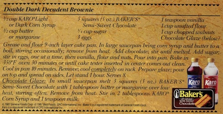 Double dark decadent brownie pie recipe card from 1987 - Divine decadence