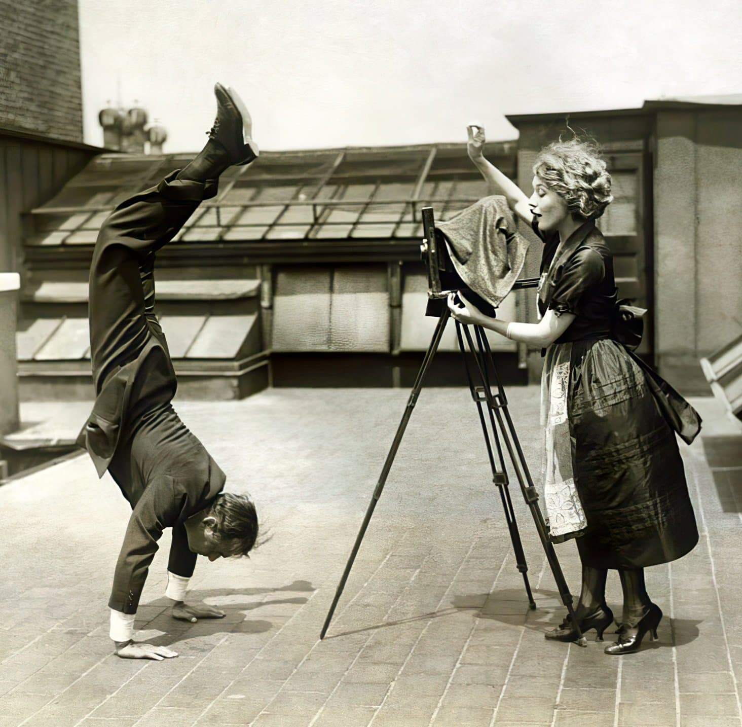 Douglas Fairbanks and Mary Pickford - Ritz Carlton Hotel NYC roof (1920)
