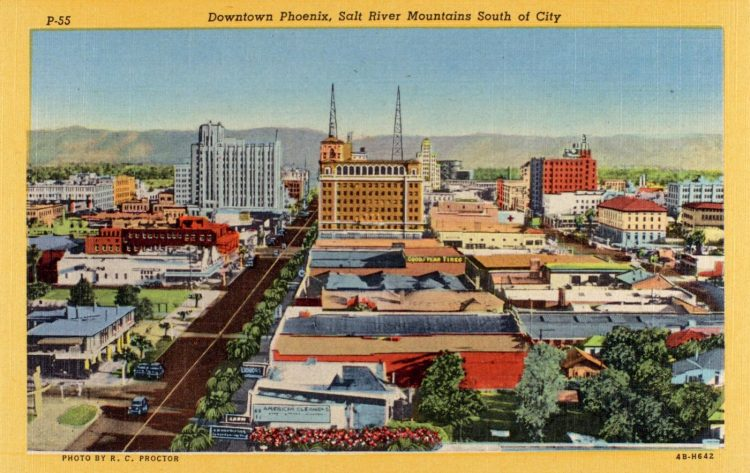 Downtown Phoenix, Salt River Mountains south of city 1944