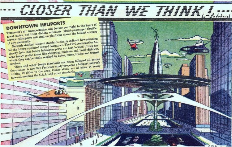Downtown heliports- Futuristic vintage invention