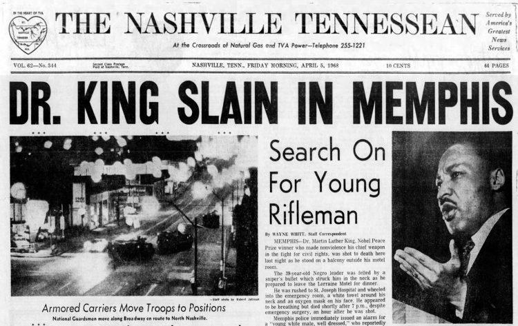 Dr Martin Luther King Jr slain in Memphis - 1968