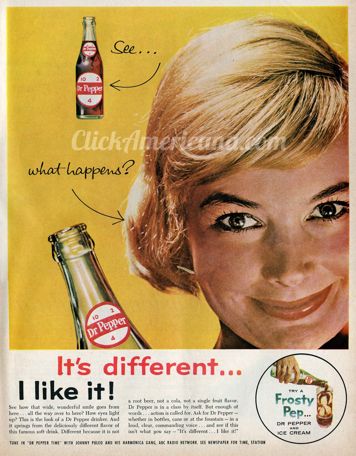 Dr Pepper - It's different - I like it ad (1961)