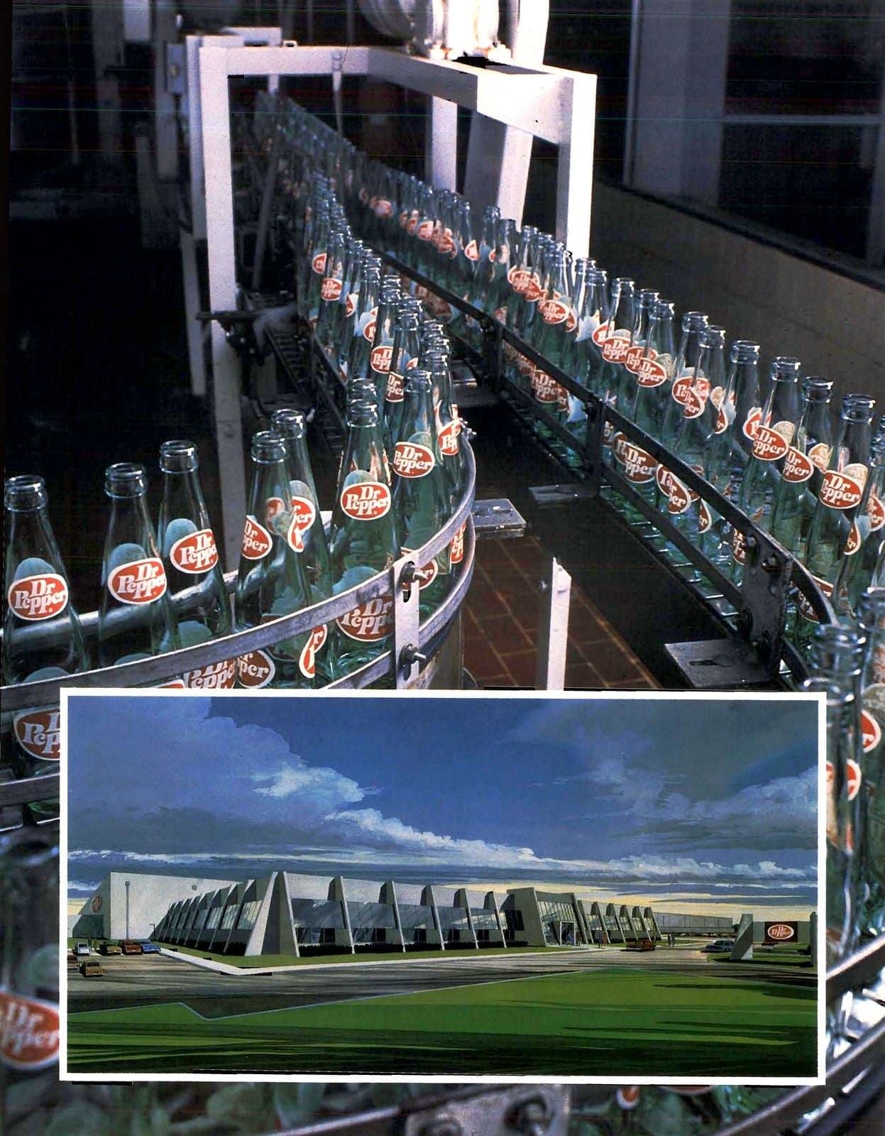 Dr Pepper bottles on production line in factory (1976)
