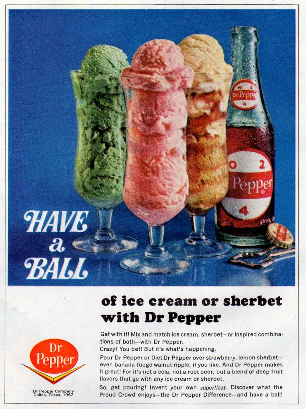 Dr Pepper ice cream and sherbet floats recipe from 1967
