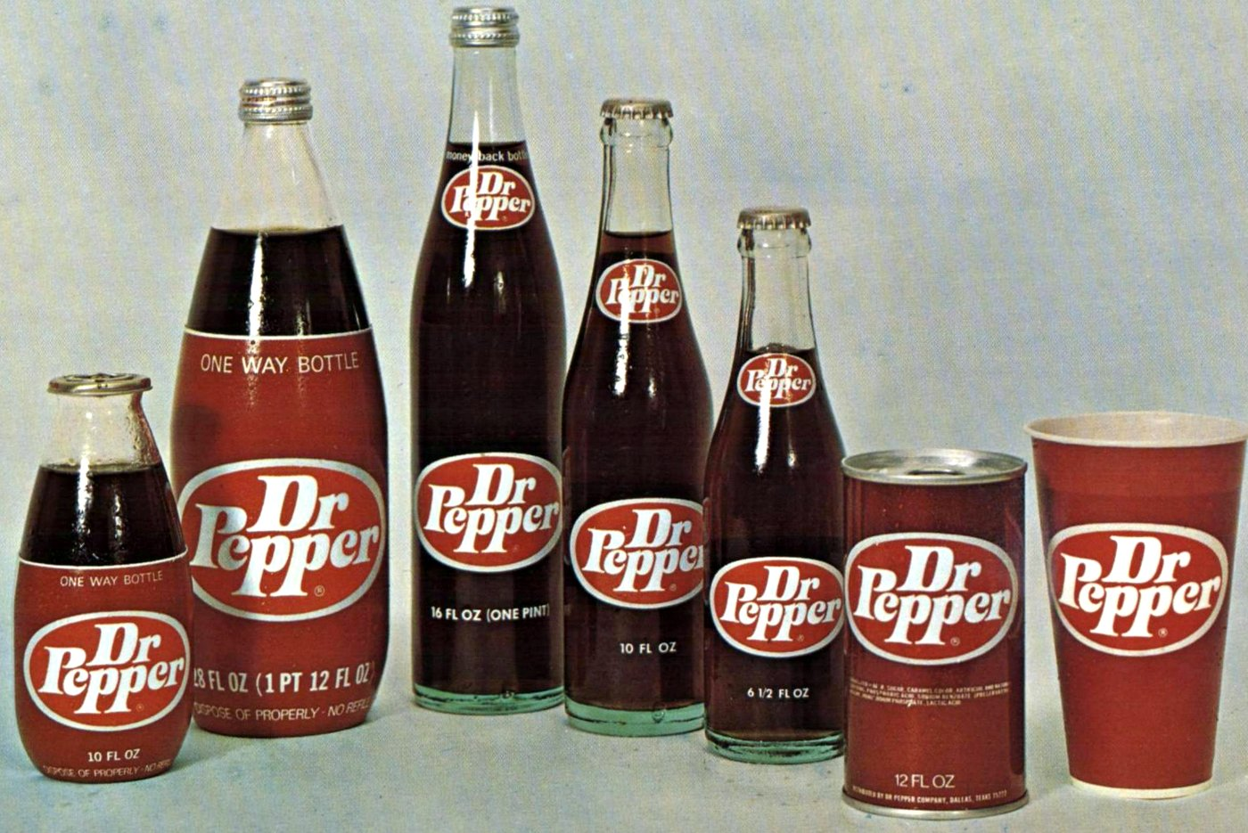 Dr Pepper original soft drinks - Bottles cans and cups (1971)