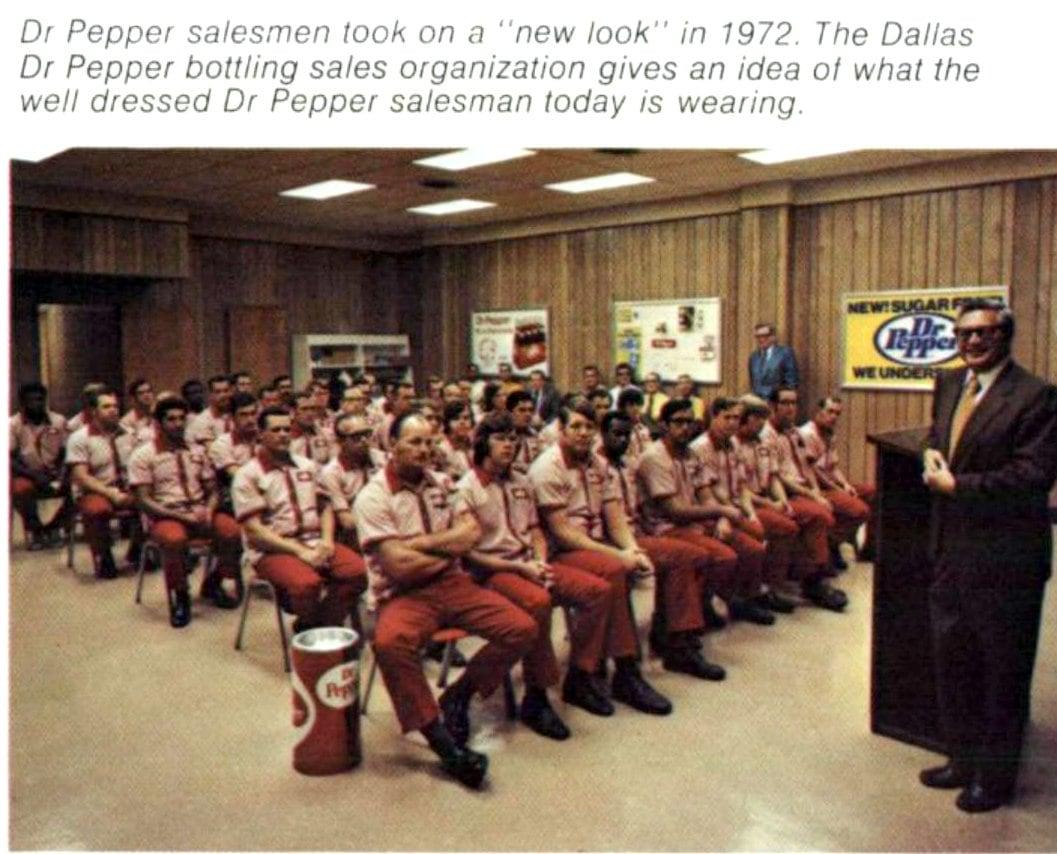 Dr Pepper salesmen in uniforms (1972)
