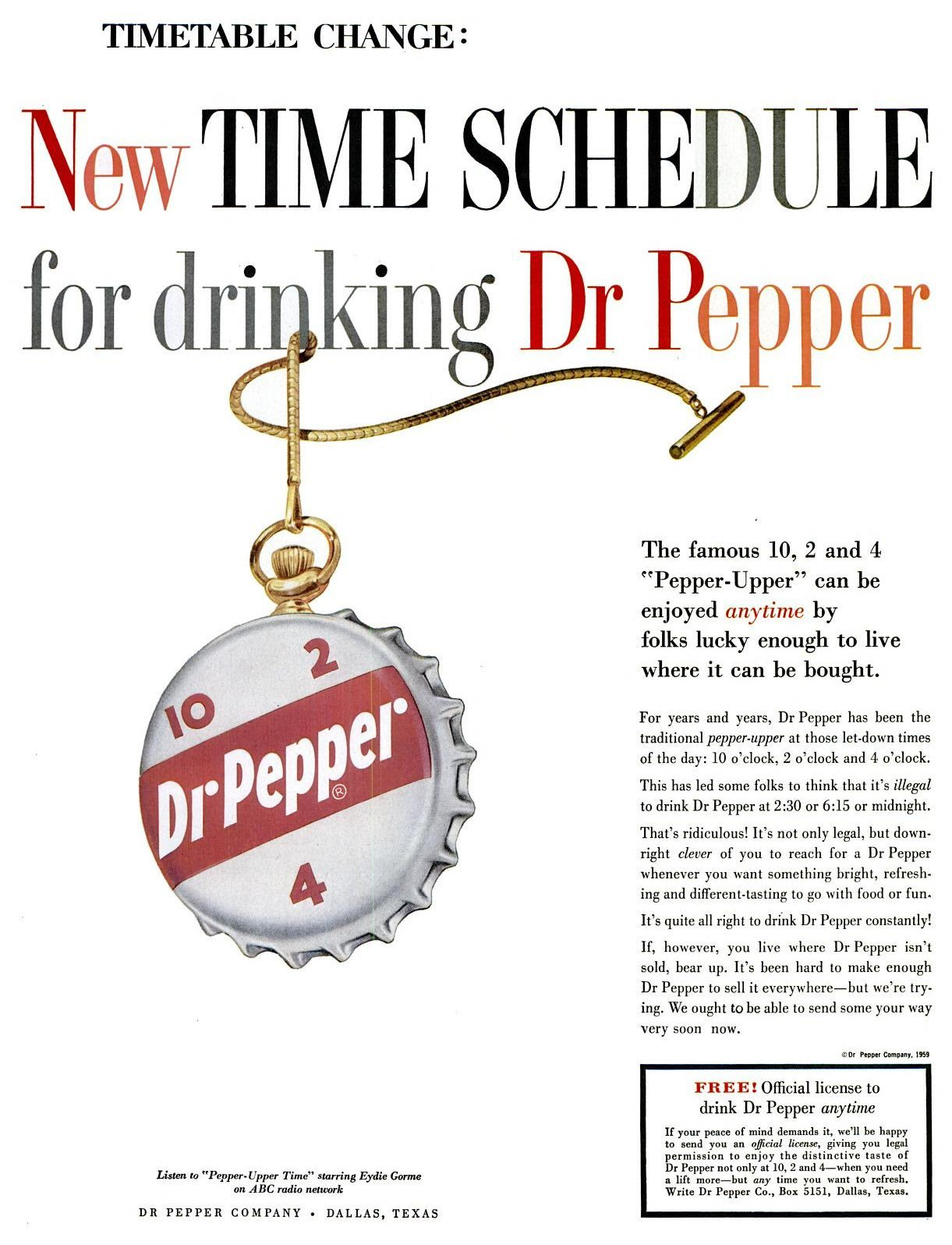 Dr Pepper time schedule (1959)