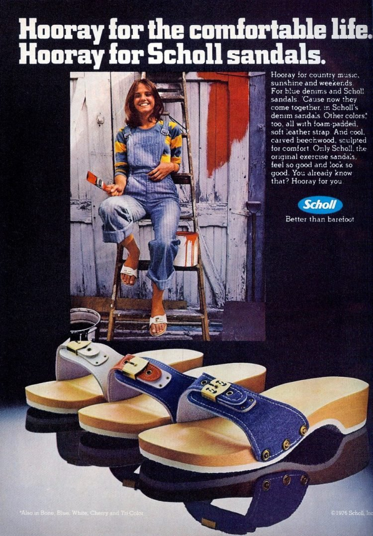 Dr Scholl's Sandals - vintage ad from 1976 - shoes fashion