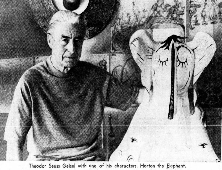 Dr Seuss with Horton the Elephant in 1972