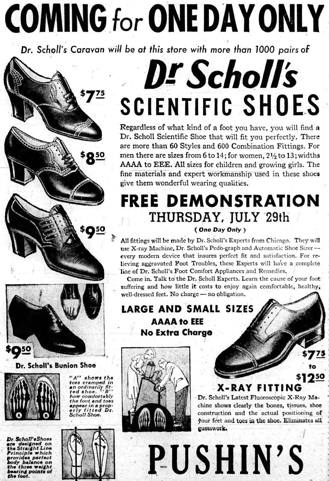 Dr. Scholl's scientific shoes with X-Ray technology (1937)
