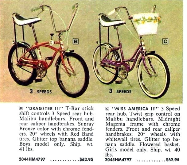 Dragster III and Miss America III vintage bikes from 1967
