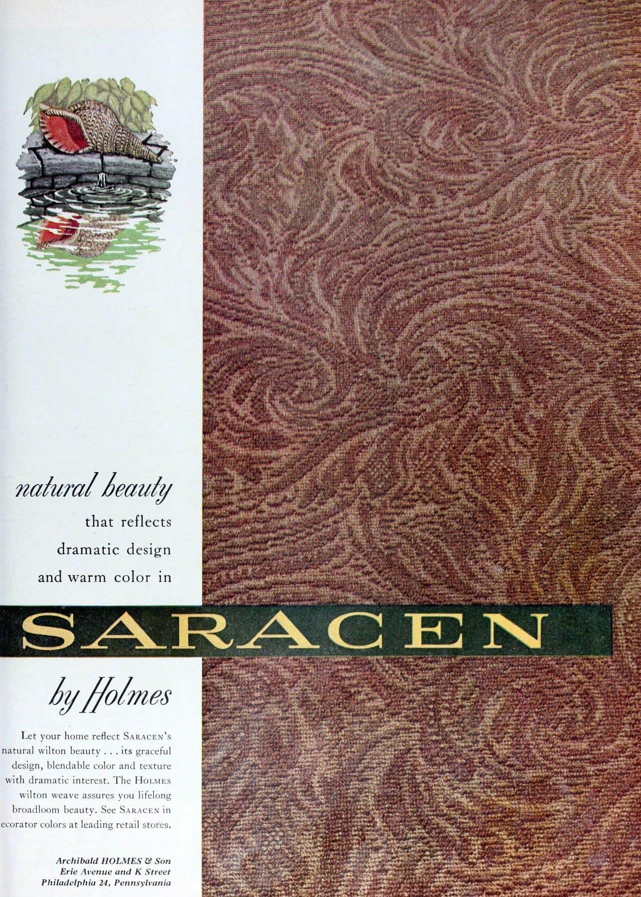Dramatic vintage Saracen by Holmes textured carpet (1954)