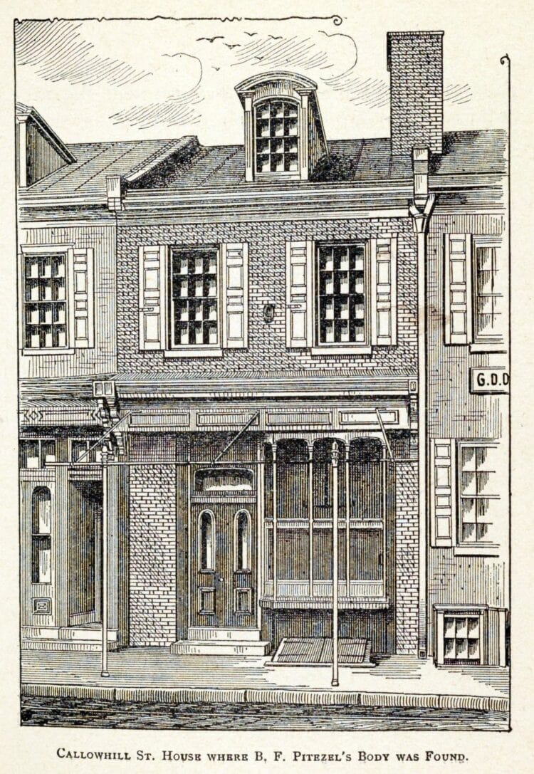 Drawing of the Callowhill Street house where B F Pitezel's body was found - murdered by H H Holmes