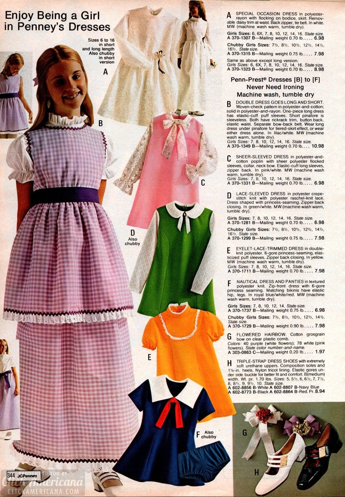 Dresses for girls from the 1973 JC Penney catalog