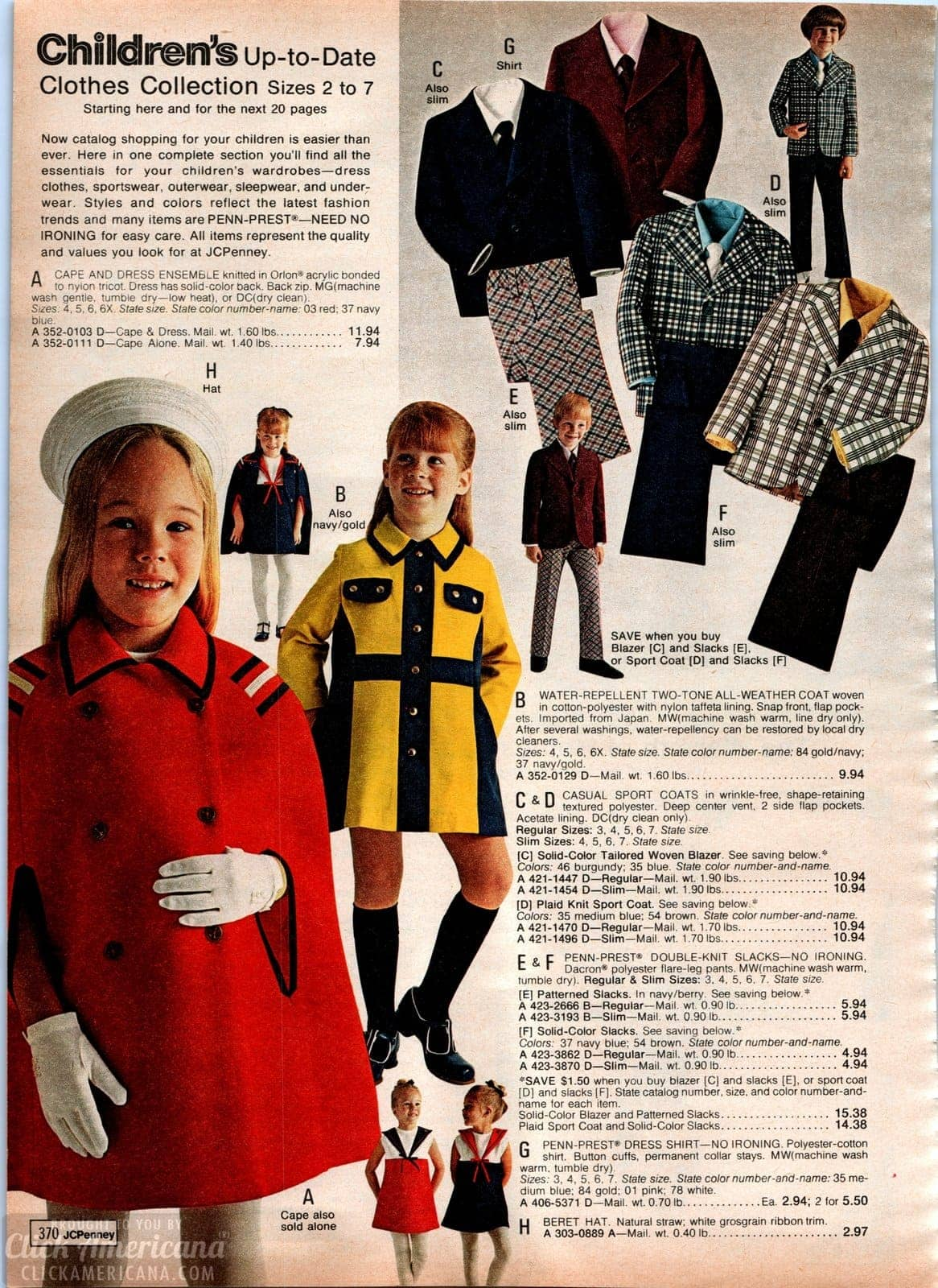 Dressy jackets and capes for girls - blazers and coats for boys - from 1973