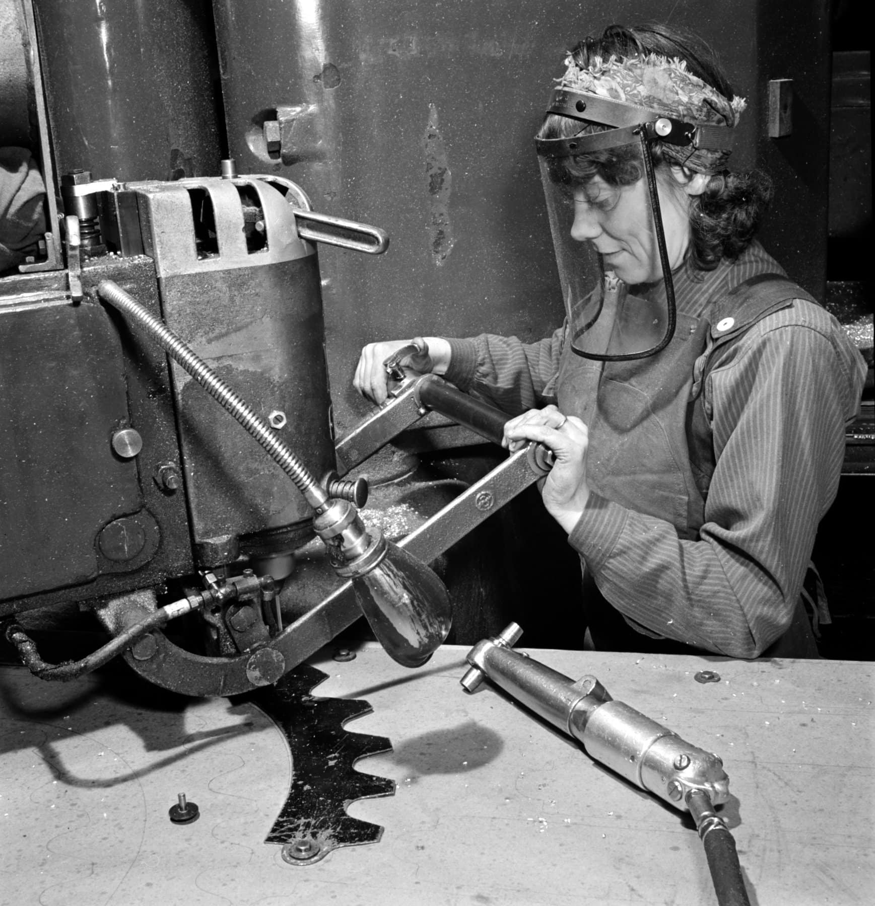 Drilling holes in a plane part for WWII